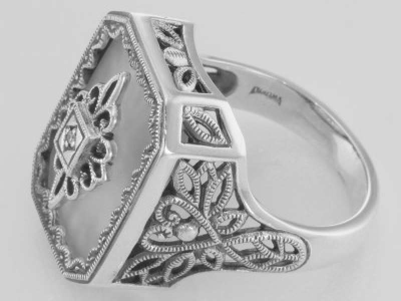 Vintage Inspired Fashion Jewelry - Sterling Silver Victorian Style Sunray Camphor Glass and Diamond Ring - image #3