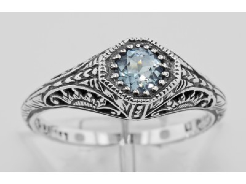 Vintage Inspired Fashion Jewelry - Sterling Silver Blue Topaz Filigree Ring - image #2