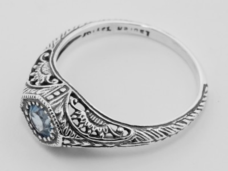 Vintage Inspired Fashion Jewelry - Sterling Silver Blue Topaz Filigree Ring - image 3
