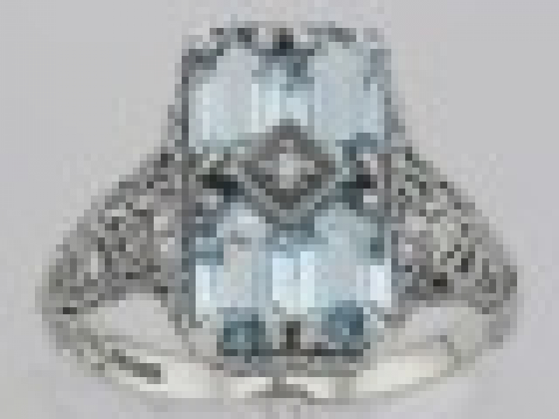 Vintage Inspired Fashion Jewelry - Art Deco Style 2 Carat Blue Topaz Filigree Ring with Diamond - image #2
