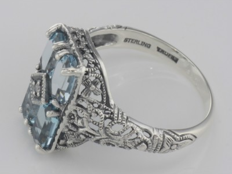 Vintage Inspired Fashion Jewelry - Art Deco Style 2 Carat Blue Topaz Filigree Ring with Diamond - image #3