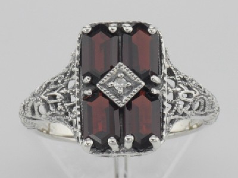 Vintage Inspired Fashion Jewelry - Sterling Silver Antique Style 2 Carat Garnet Filigree Ring with Diamond - image #2