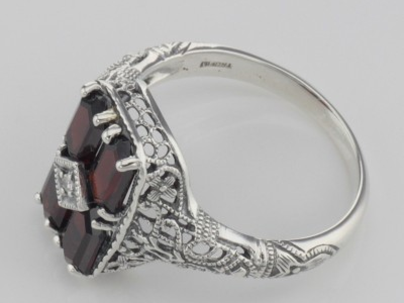 Vintage Inspired Fashion Jewelry - Sterling Silver Antique Style 2 Carat Garnet Filigree Ring with Diamond - image #3