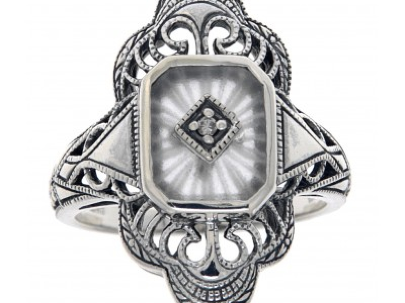 Vintage Inspired Fashion Jewelry - Sterling Silver Victorian Style Camphor Glass Sunray Cut Filigree Diamond Ring - image 2