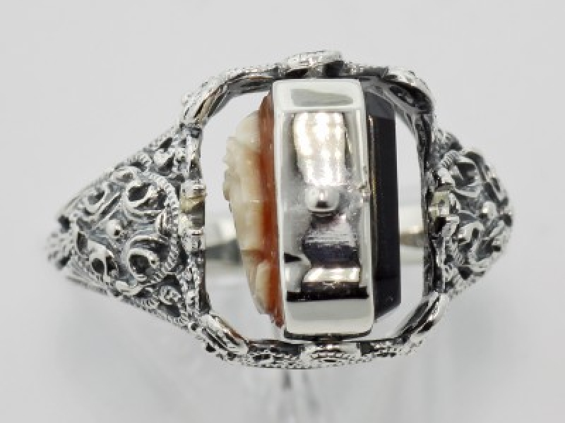 Vintage Inspired Fashion Jewelry - Sterling Silver Hand Carved Italian Cameo / Onyx Filigree Flip Ring - image 3