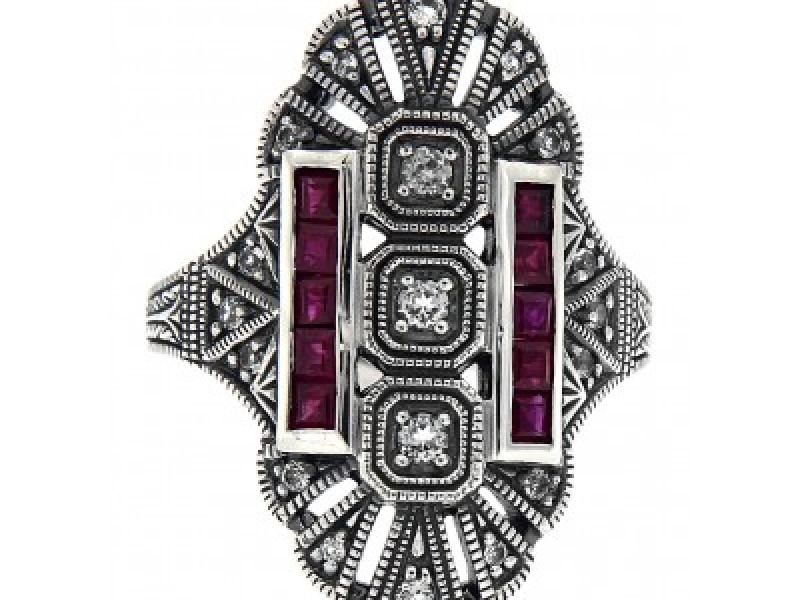 Vintage Inspired Fashion Jewelry - Sterling Silver Art Deco Style White Topaz / Genuine Red Ruby Gemstone Ring - image #2