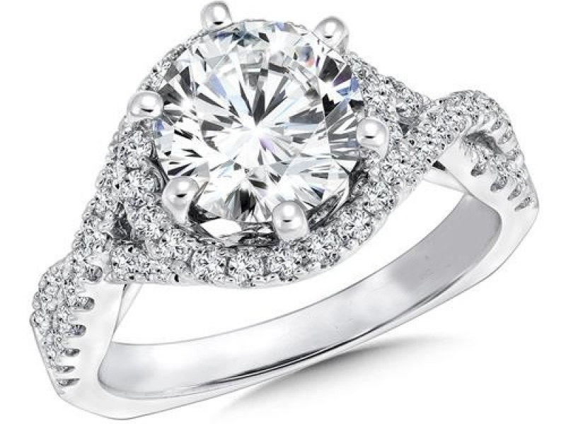 Engagement Rings - Double Strand Halo Diamond Ring