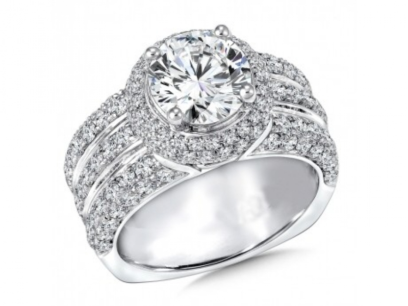 Bridal Jewelry - 3 Band Halo Pave-Set Diamond Ring Mounting