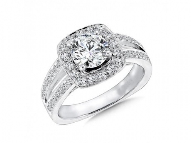 Bridal Jewelry - Split Shank Cushion Halo Ring Mounting