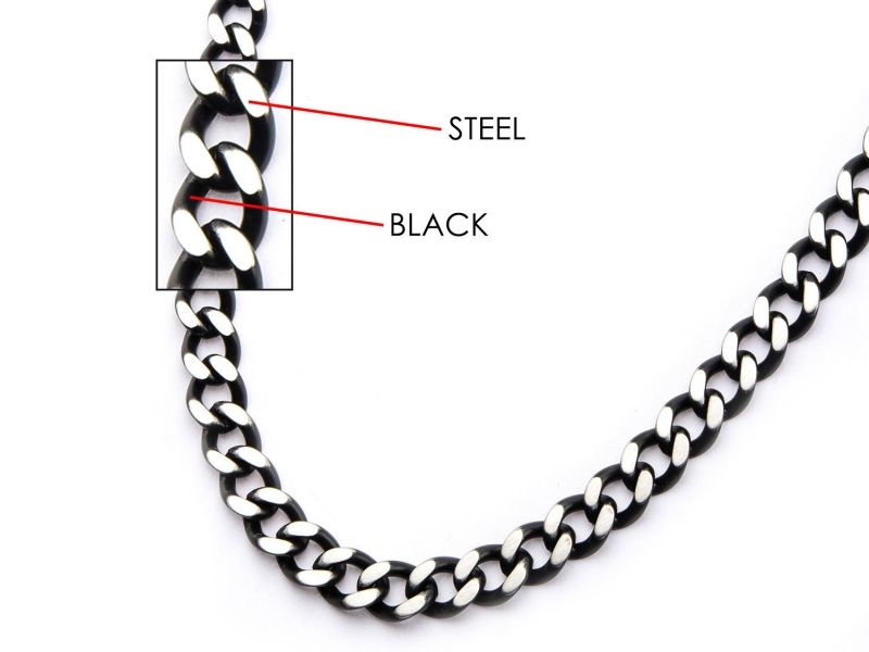 Men's Fashion Jewelry  - Men's Stainless Steel Black IP Diamond Cut Chain Necklace - image #2