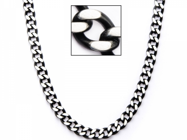 Men's Fashion Jewelry  - Men's Stainless Steel Black IP Diamond Cut Chain Necklace