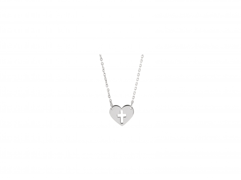cross heart silver necklace