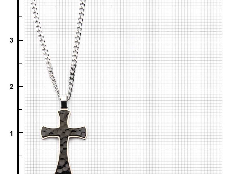 Men's Fashion Jewelry  - Men's Stainless Steel Tri-Tone Hammered Cross Pendant with Chain. - image #3