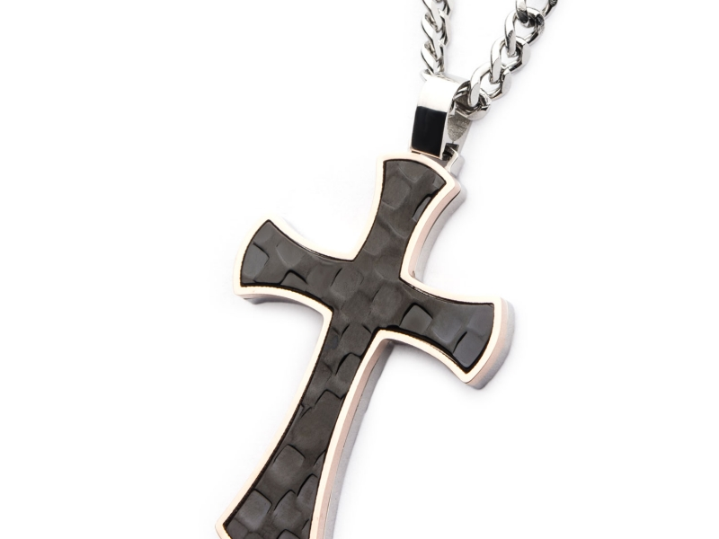 Men's Fashion Jewelry  - Men's Stainless Steel Tri-Tone Hammered Cross Pendant with Chain. - image #2
