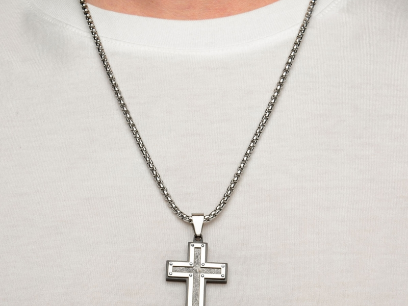 Men's Fashion Jewelry  - Men's Stainless Steel Frame with Textured Black IP Cross Pendant  - image #3
