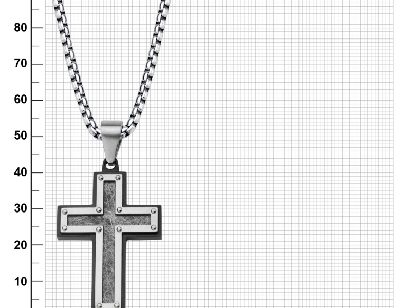 Men's Fashion Jewelry  - Men's Stainless Steel Frame with Textured Black IP Cross Pendant  - image #2
