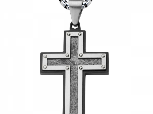 Men's Fashion Jewelry  - Men's Stainless Steel Frame with Textured Black IP Cross Pendant