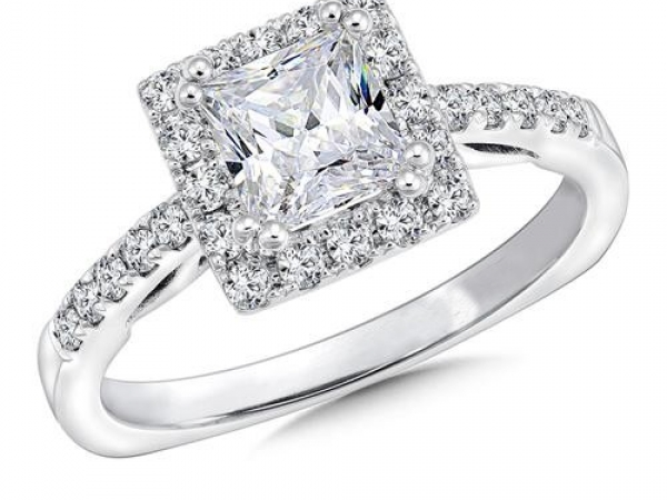 Bridal Jewelry - Princess Cut Halo Ring Mounting