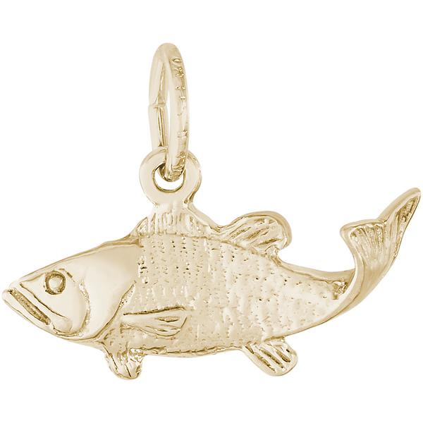 Charms - Bass Fish Charm or Pendant in Gold or Silver - image #2