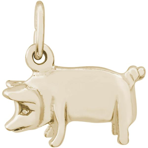 Charms - Pig Charm or Pendant in Gold or Silver