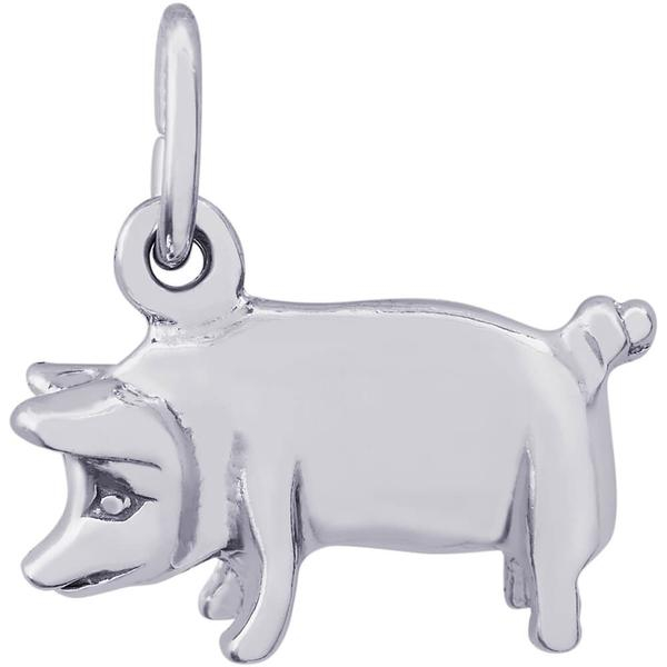 Animals - Pig Charm or Pendant in Gold or Silver - image 2