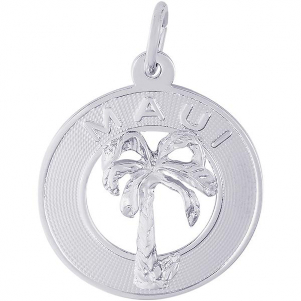World Travel - Maui Palm Tree Disc Charm or Pendant in Gold or Silver - image #2