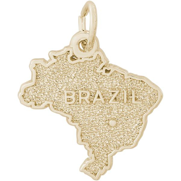 Charms - Brazil Map Charm or Pendant in Gold or Silver - image #2