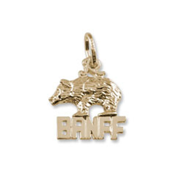 Charms - Banff Natiional Park Bear Charm or Pendant in Gold or Silver