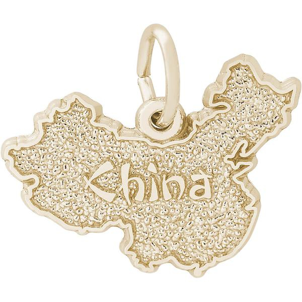 World Travel - China Map Charm or Pendant in Gold or Silver - image #2