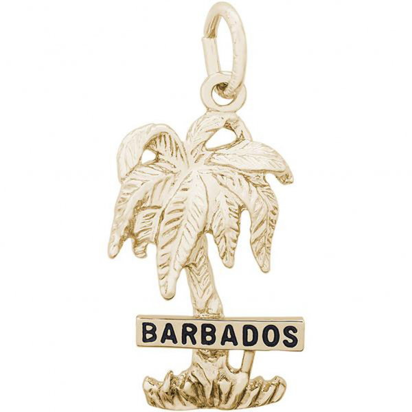Charms - Barbados Palm Tree Charm or Pendant in Gold or Silver - image #2