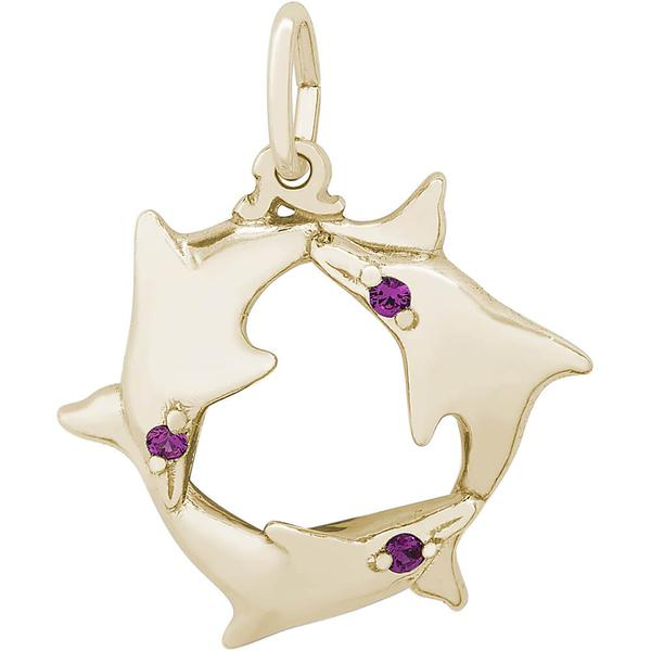 Charms - Dolphin Trio Ring Charm in Silver or Gold - image #2
