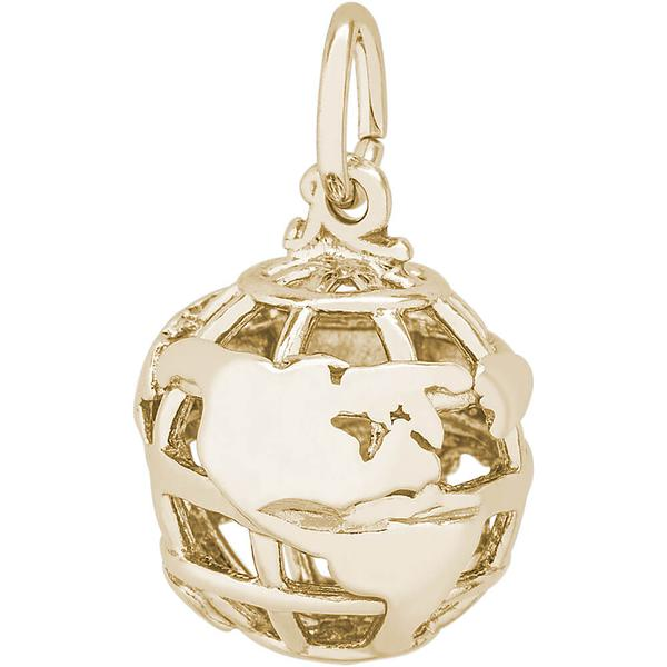 World Travel - World Gold Traveler Charm or Pendant in Gold or Silver