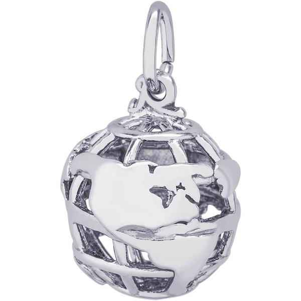 World Travel - World Gold Traveler Charm or Pendant in Gold or Silver - image #2