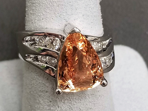 Latest Styles - 14kw Imperial Topaz and Diamond Ring