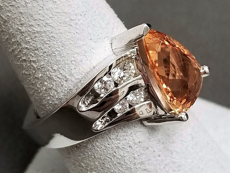 Latest Styles - 14kw Imperial Topaz and Diamond Ring - image #2
