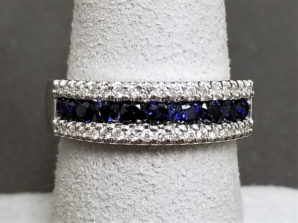 Latest Styles - 14kw Sapphire and Diamond Band