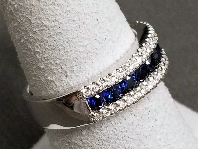 Latest Styles - 14kw Sapphire and Diamond Band - image #2