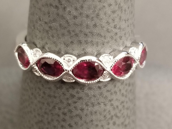 Latest Styles - 14kw Ruby and Diamond Band