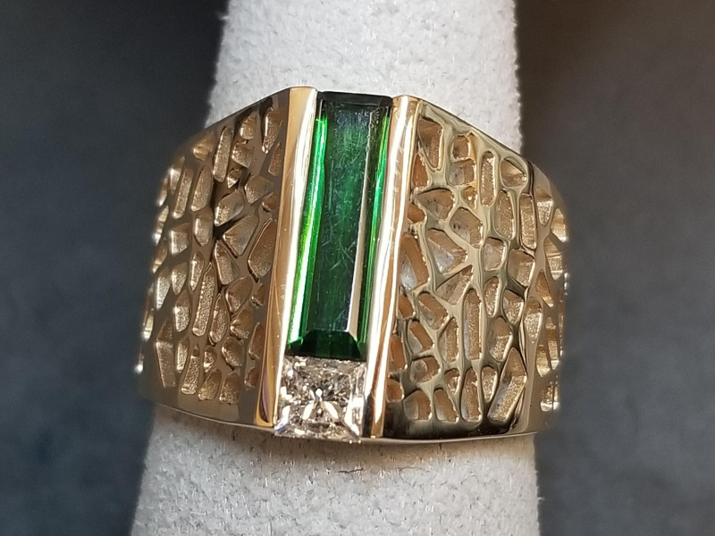 Designs by John Morgan - 14ky Green Tourmaline and Diamond Ring - image #2