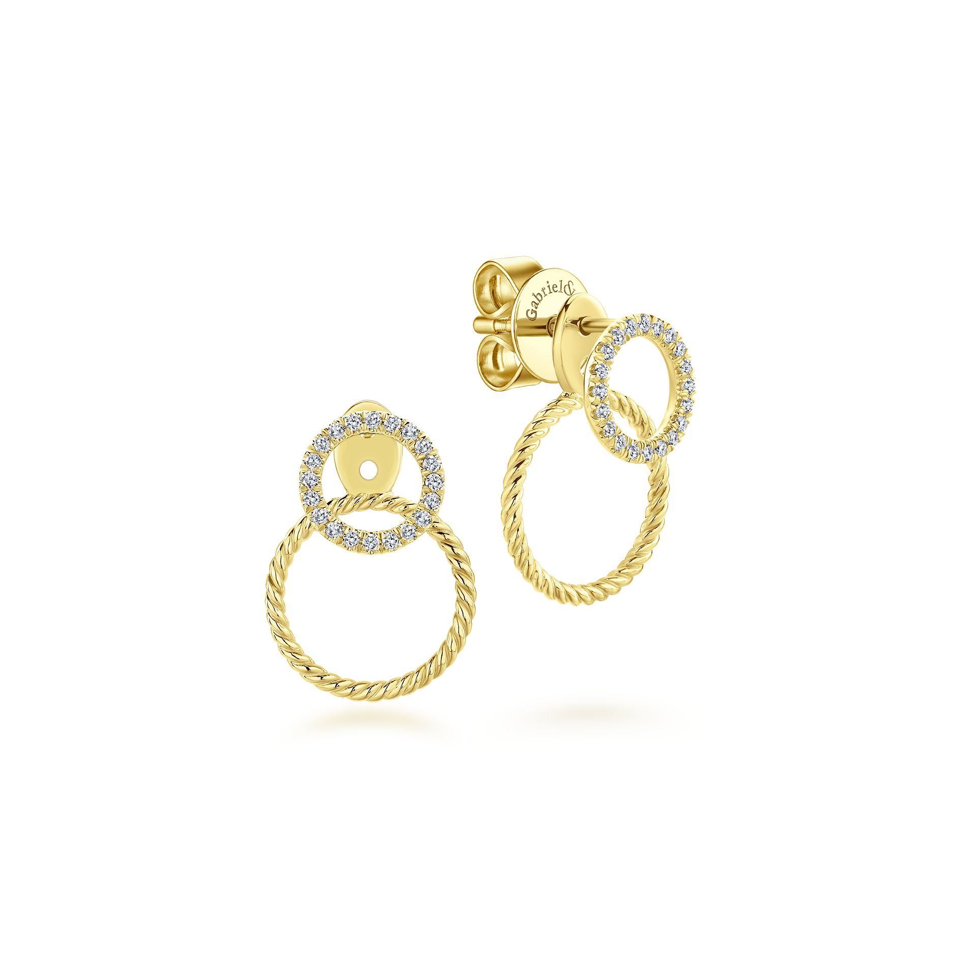 Earrings - YELLOW GOLD PEEK A BOO DOUBLE CIRCLE DIAMOND EARRINGS