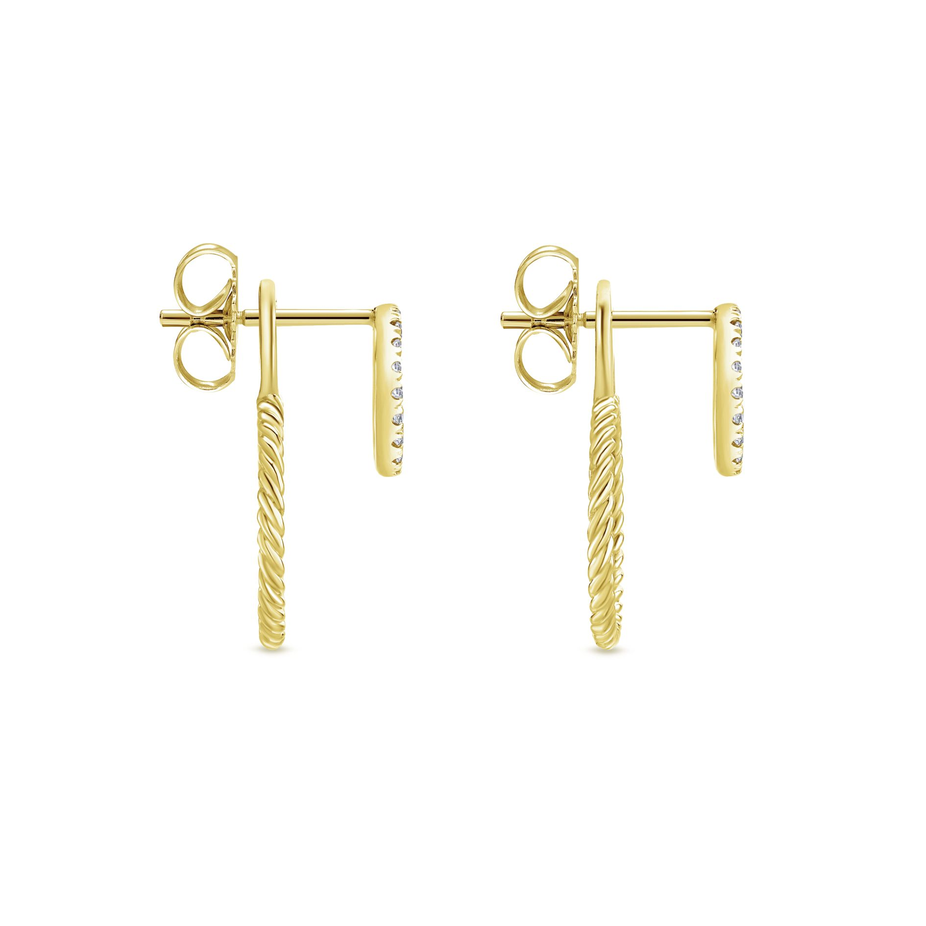 Earrings - YELLOW GOLD PEEK A BOO DOUBLE CIRCLE DIAMOND EARRINGS - image #3