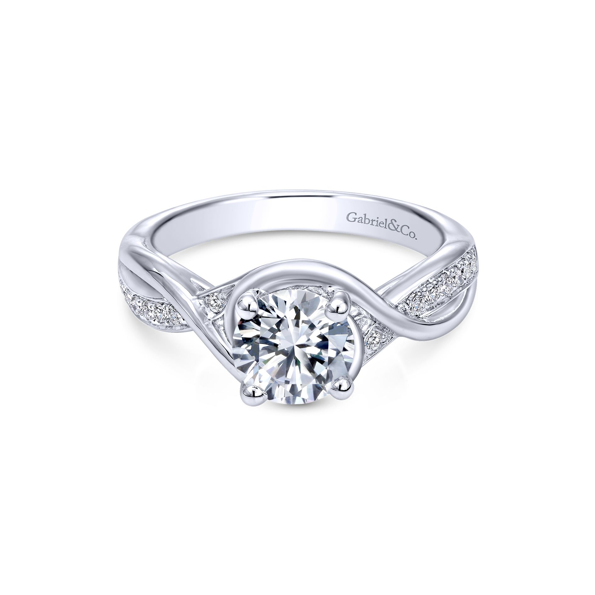 Engagement Rings - WHITE GOLD ROUND TWISTED DIAMOND ENGAGEMENT RING