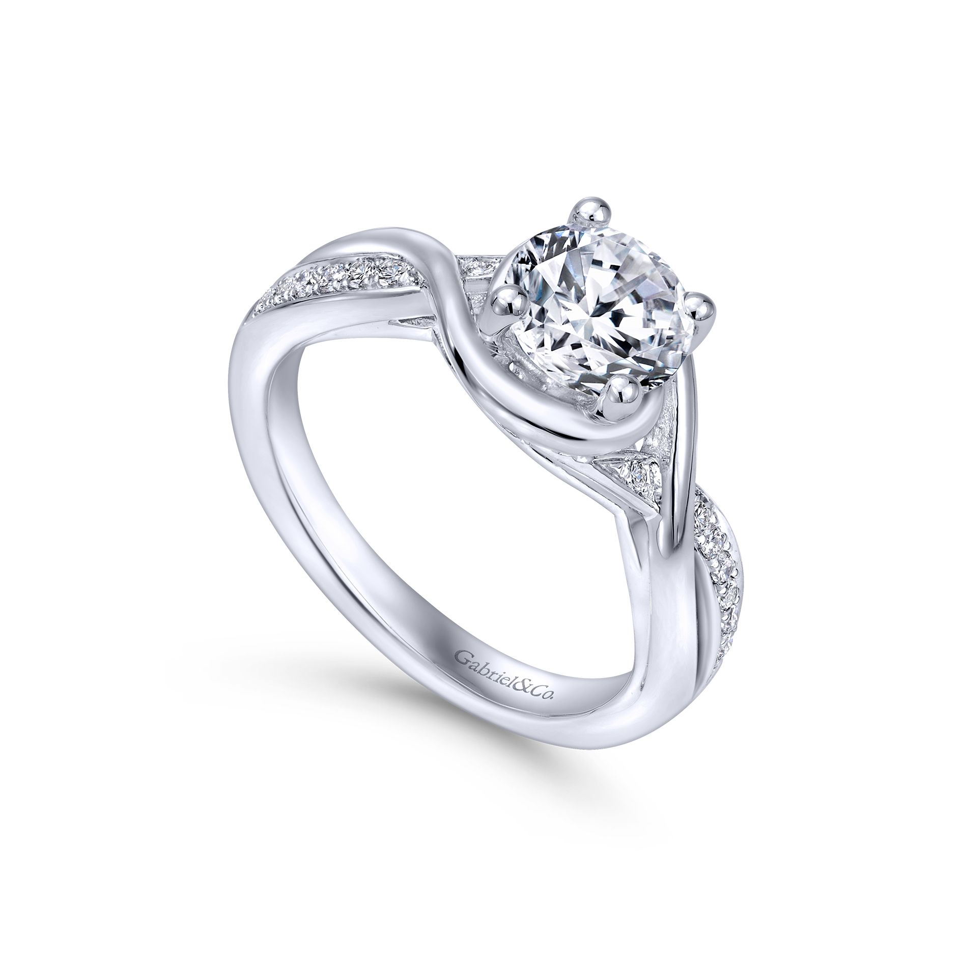 Engagement Rings - WHITE GOLD ROUND TWISTED DIAMOND ENGAGEMENT RING - image #3