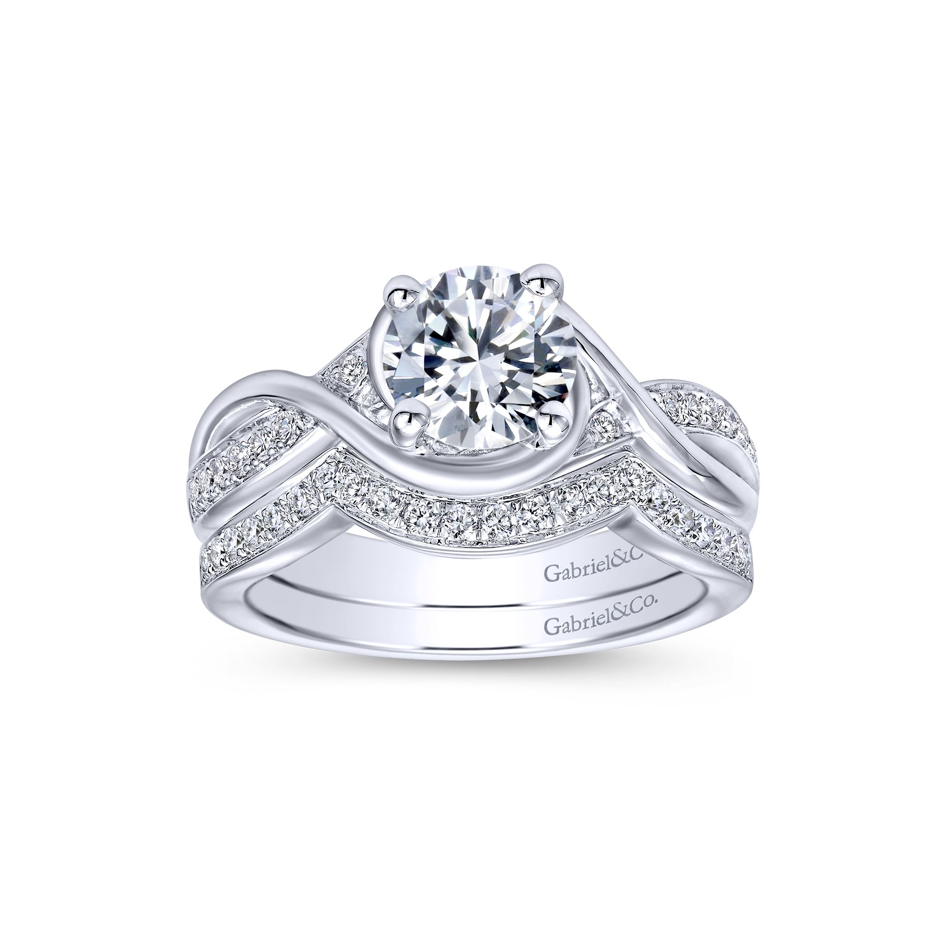 Engagement Rings - WHITE GOLD ROUND TWISTED DIAMOND ENGAGEMENT RING - image #4