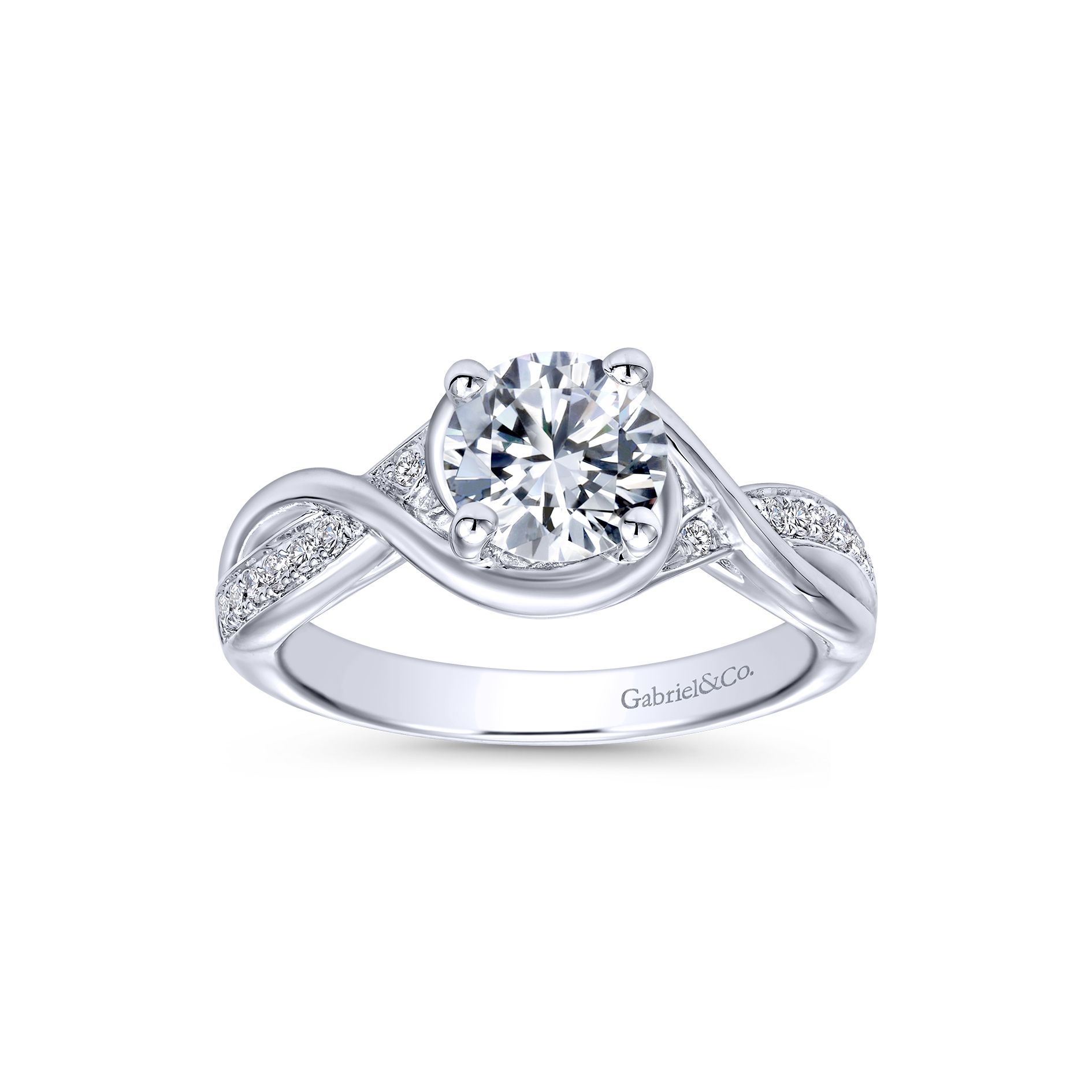 Engagement Rings - WHITE GOLD ROUND TWISTED DIAMOND ENGAGEMENT RING - image #5