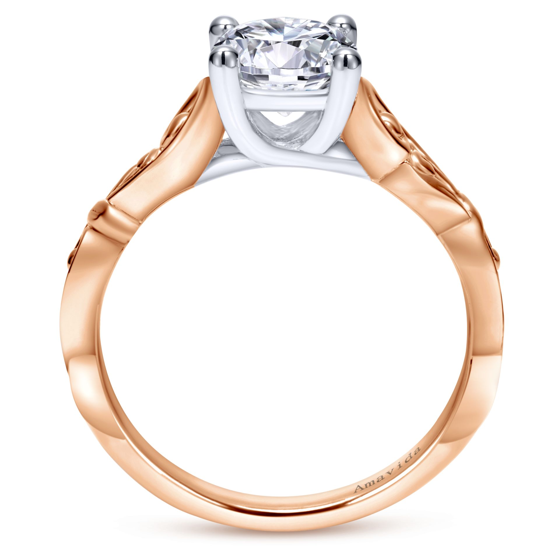 Engagement Rings - WHITE/ROSE GOLD ROUND FREE FORM ENGAGEMENT RING - image #2