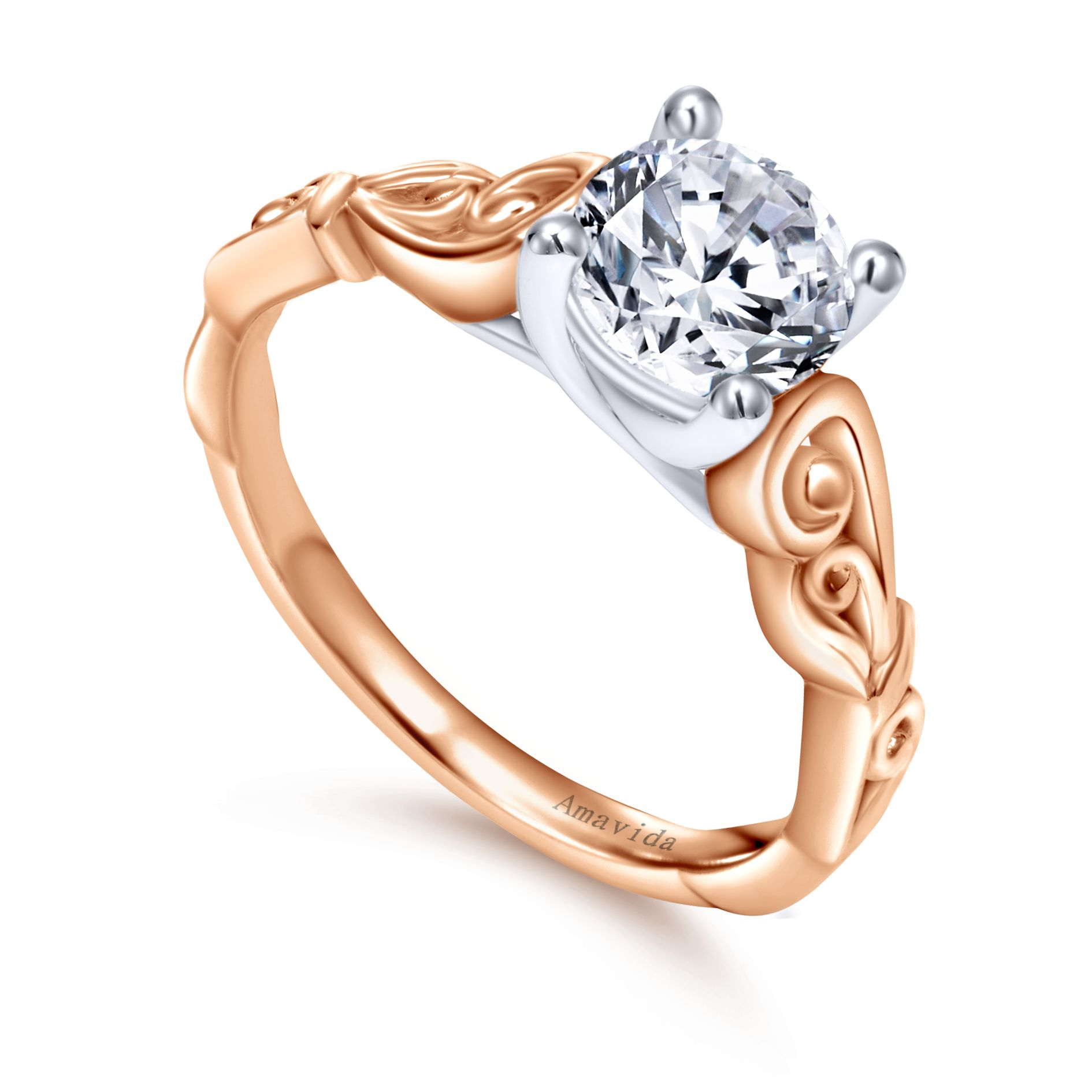 Engagement Rings - WHITE/ROSE GOLD ROUND FREE FORM ENGAGEMENT RING - image #3