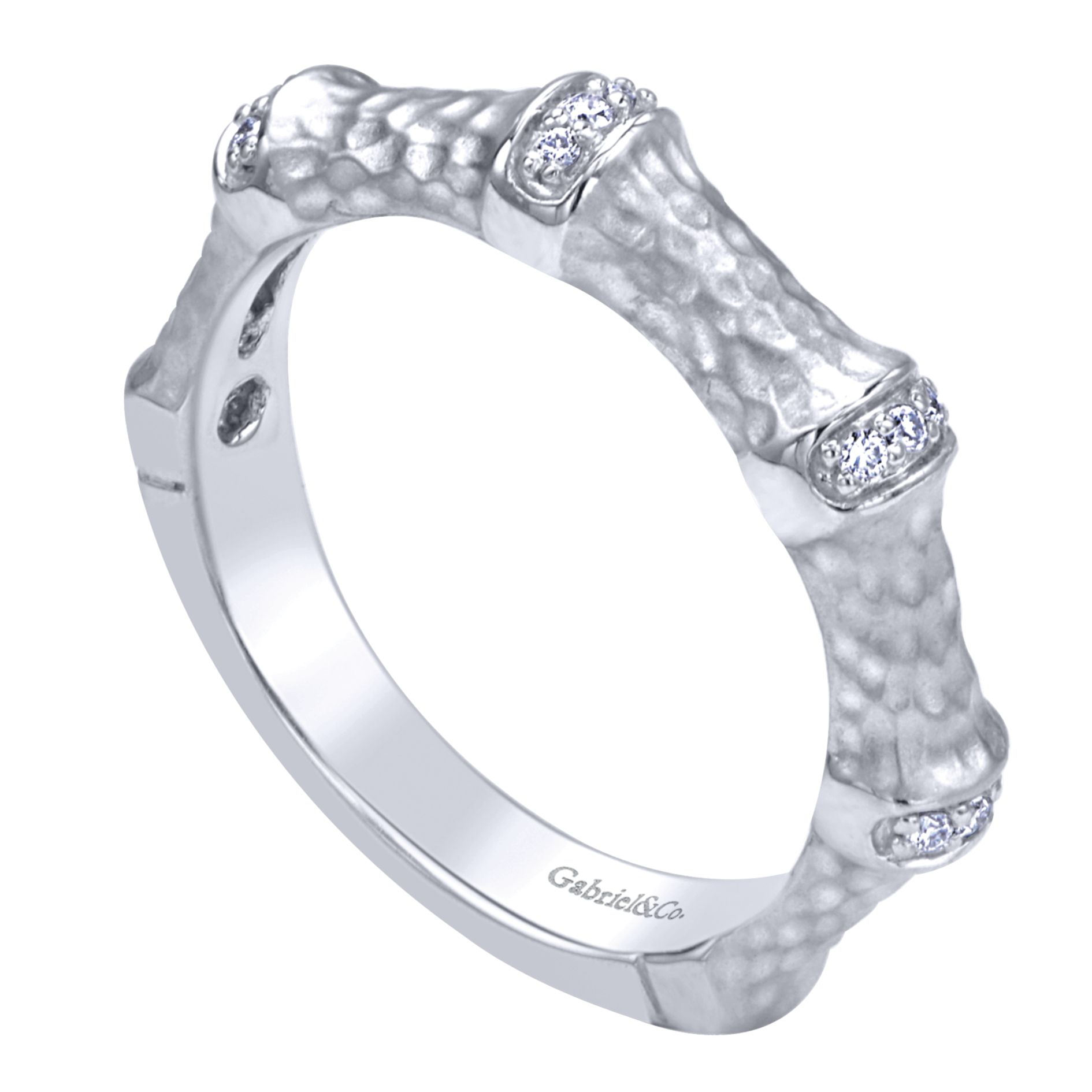 Rings - WHITE GOLD STACKABLE DIAMOND LADIES RING - image #3