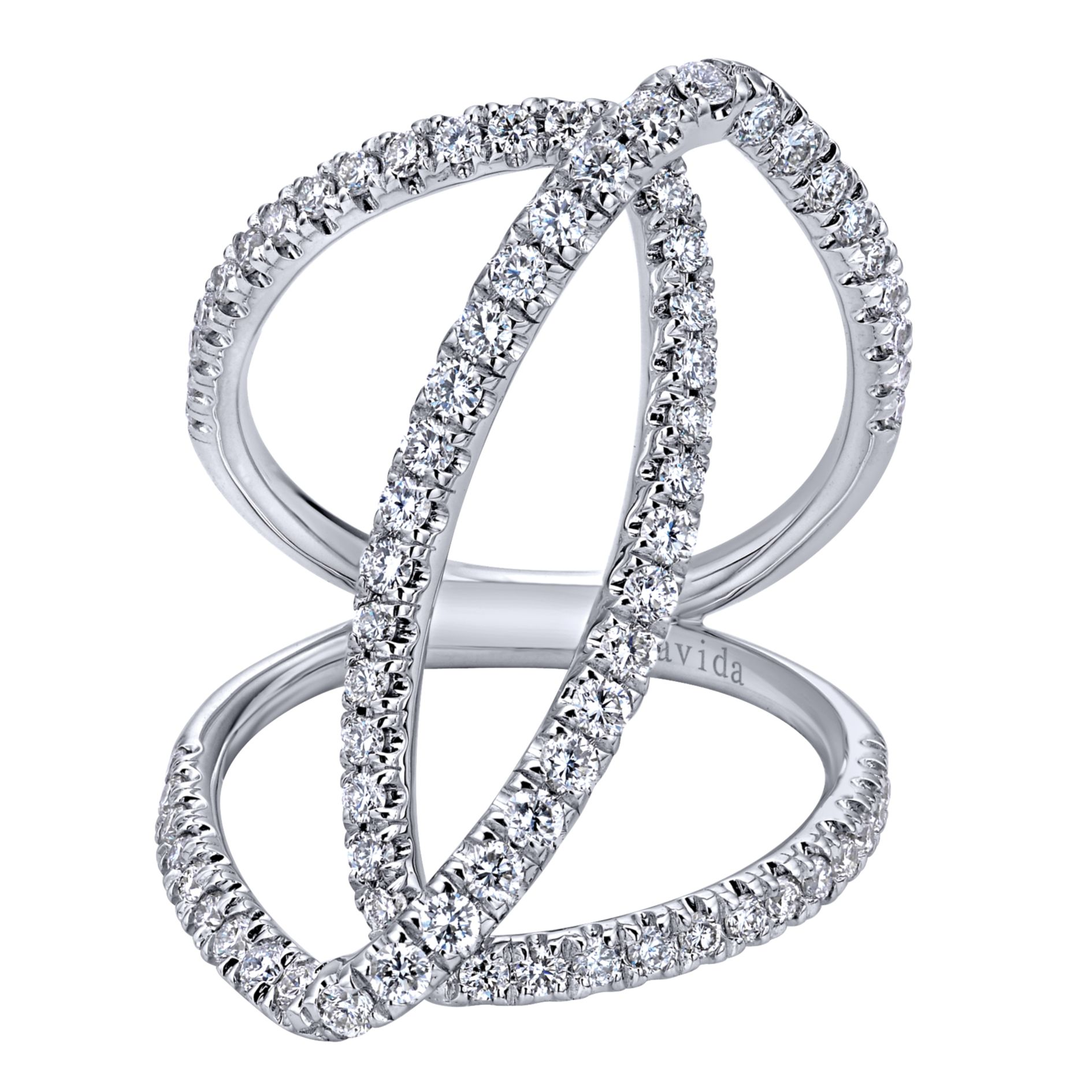 Rings - WHITE GOLD WIDE BAND DIAMOND LADIES RING