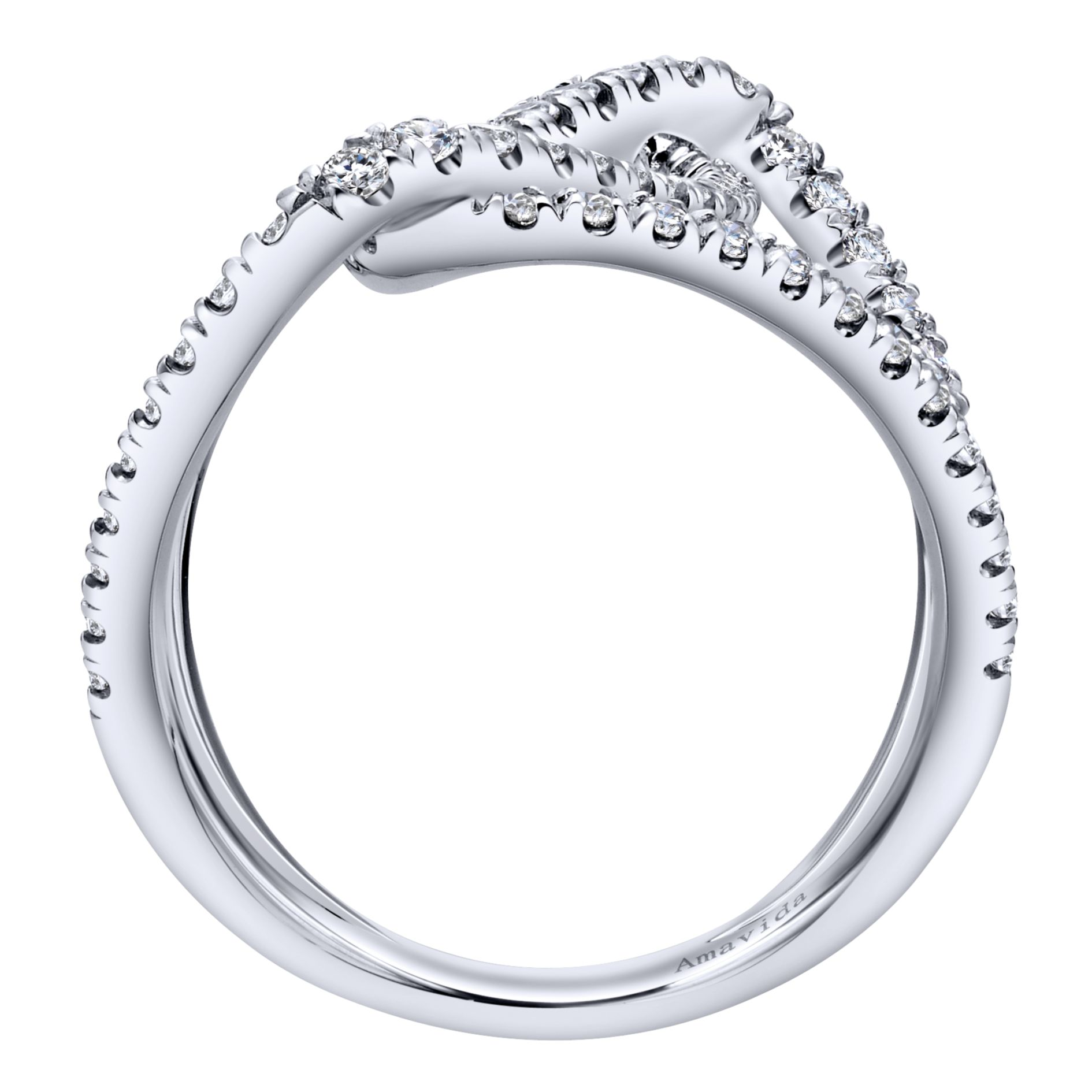 Rings - WHITE GOLD WIDE BAND DIAMOND LADIES RING - image #2